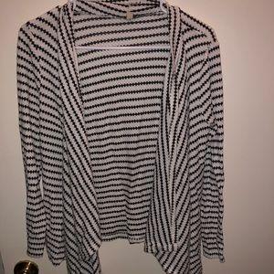 Sweaters - Striped Black & White Cardigan